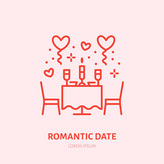 Romantic date illustration. Dinner by candlelight flat line icon, jewellery store logo. Valentines day celebration sign.