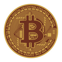 Golden bitcoin - symbol of international virtual cryptocurrency. Isolated on white.