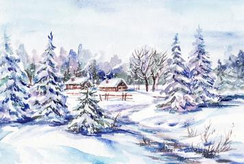 Watercolor painting: winter village landscape