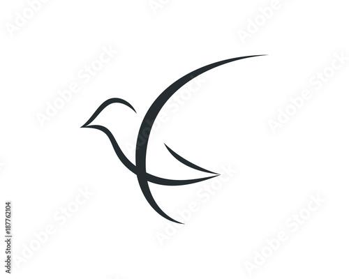 Beautiful Simple Line Art : Simple line art beautiful flying bird symbol modern logo vector
