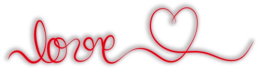single stroke red ribbon banner with word love and heart shape