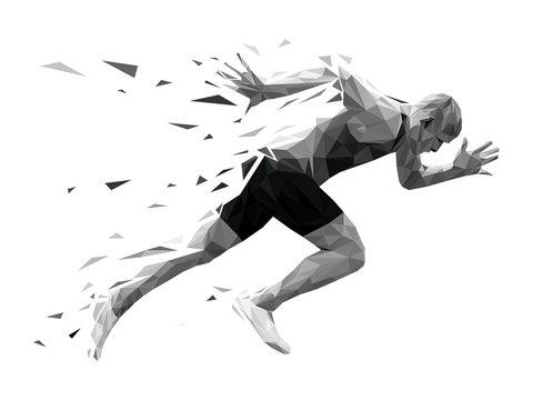 silhouette running man sprinter explosive start. polygonal particles