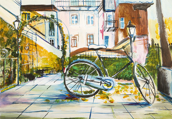 Zakątek miejski - pejzaż ręcznie malowany