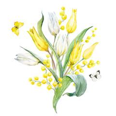 Watercolor tulip composition