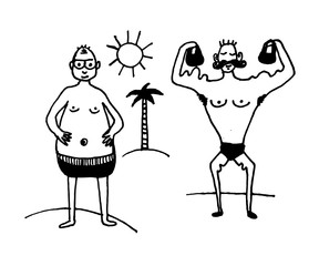 Пdrawing set of comic pictures of a man in swimming trunks on the beach with a pussy, and a male athlete lifting dumbbells,  sketch, hand-drawn vector illustrationечать