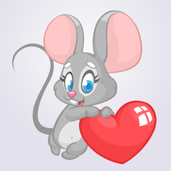 Cartoon cute mouse  holding a love heart. Vector illustration for St Valentines Day. Isolated