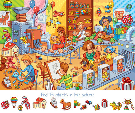 Toy factory. Find 15 objects in the picture