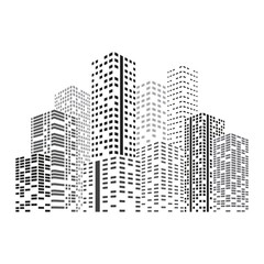 City Skyscrapers illustration. Buildings at night. Urban scene. Abstract vector design element isolated on white background.