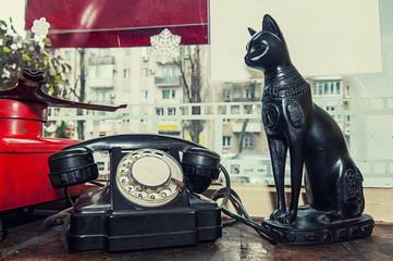 The figure of a black cat