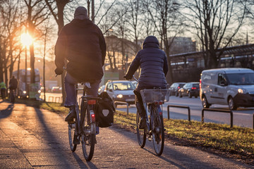 Radfahrer morgens