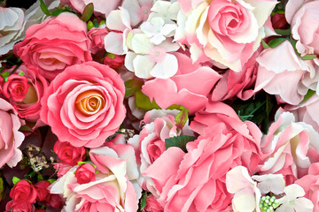 Close-up of pink rose flowers background for Valentine's Day decoration.