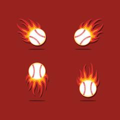 Baseball Fire Vector Template Design