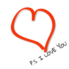 Red heart casts shadow on white background with text P.S. I LOVE YOU.