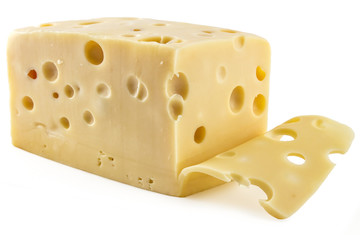 Sliced fresh emmental cheese on white background, cow cheese
