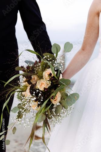 Brautpaar Halt Vintage Brautstrauss Stock Photo And Royalty Free