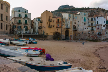 Touristic and vacation pearl of Sicily, boats en small town of Cefaly, Sicily, south Italy