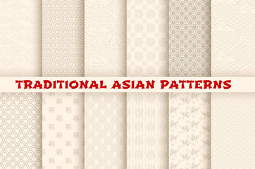 Asian Chinese Japanese vector seamless patterns