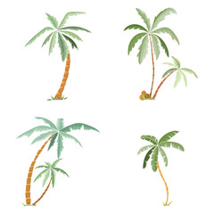 Hand drawn tropical palm trees set.