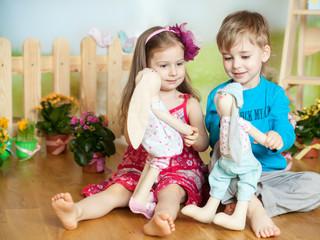 Cute children in a Easter studio