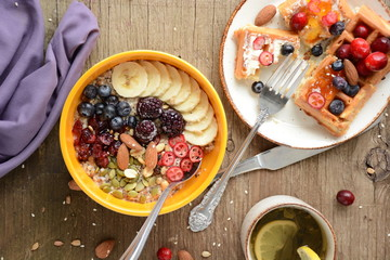 oatmeal breakfast with fruits and waffles