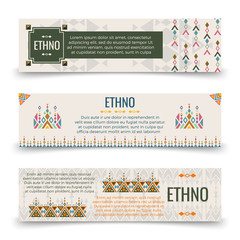 Ethno banners template with boho ornaments