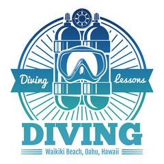Color diving club emblem or logo