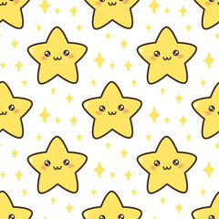Seamless pattern with cute star. It can be used for packaging, wrapping paper, textile and etc.