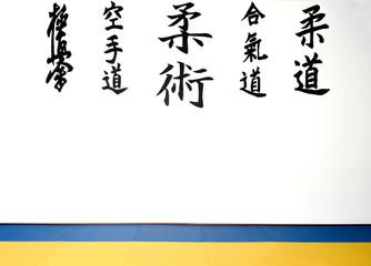 View of a karate dojo and ju-jitsu with tatami and kenji on the wall