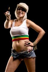 Dance hall rockstar woman smoking