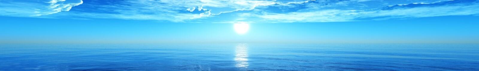 panorama of the sea sunset, Ocean sunrise, Banner.