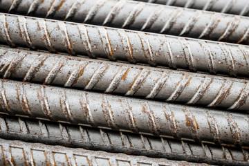 Deformed steel bars metal texture close up