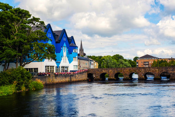 Beautiful landscape in Sligo, Ireland with river and colorful houses