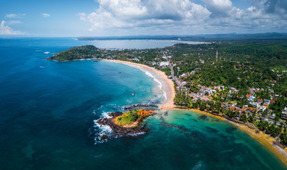 Wall Mural - Aerial panorama of the tropical beach in the town of Mirissa, Sri Lanka