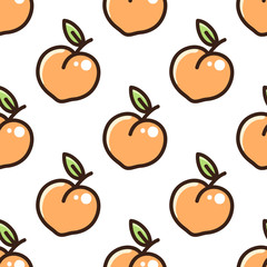 Cute pattern with peach on a white background. It can be used for packaging, wrapping paper, textile and etc.