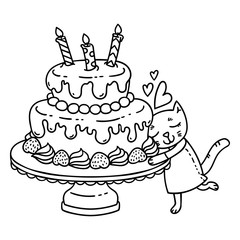 Birthday cake with candle and cute cat. Isolated objects on white background. Vector illustration. Coloring page.