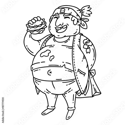 Fat Man With Burger Obese Character Cartoon Vector Illustration