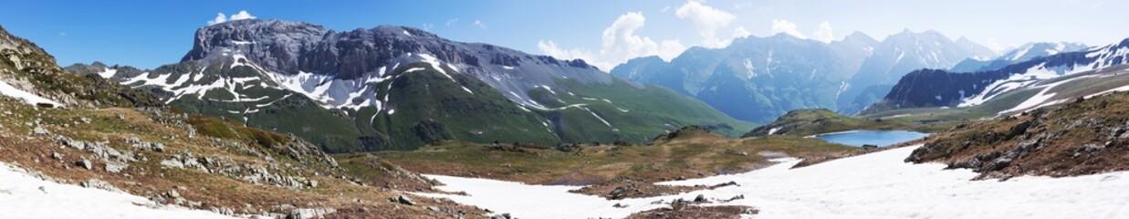 Beautiful amazing nature of high mountains. Rocky peaks.