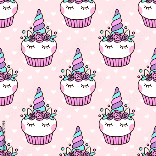 Seamless Pattern With Cute Unicorn Cupcake On A Pink Background With