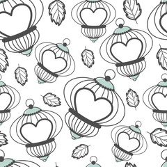 Valentines day seamless pattern with romantic elements.