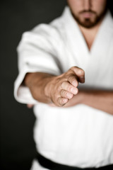 Closeup of male karate fighter hands