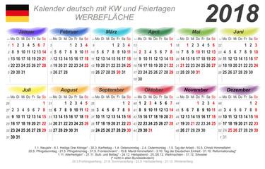 Kalender 2018 - bunte Wasserfarben - quer - deutsch - mit Feiertagen