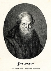 Hans Sachs, german meistersinger, poet, playwright and shoemaker (from Spamers Illustrierte Weltgeschichte, 1894, 5[1], 412)