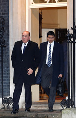 Axel Weber Chairman of UBS and Nikhil Rathi CEO of the London Stock Exchange UK Division leave 10 Downing Street in London