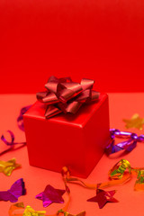 red gift box red background