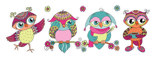 Canvas Prints Owls cartoon Four cute colorful cartoon owls