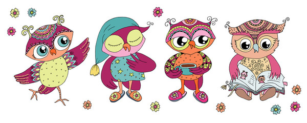Four cute colorful cartoon owls
