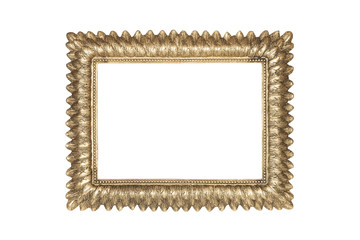 Golden picture frame isolated on white with clipping path