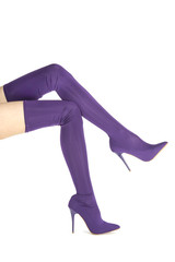 Beautyful legs in lilac stretch high heels shoes