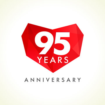 Anniversary 95 years old celebrating logotype with hearts. Luxurious celebrating congratulating greetings, stained glass numbers template. Valentine's Day abstract emotional lovely isolated shape.