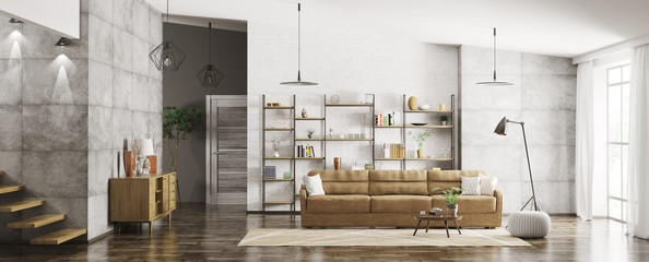 Interior of modern apartment panorama 3d rendering